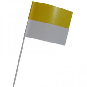 Chorągiewka papierowa papieska żółto-biała 15 x 21 cm