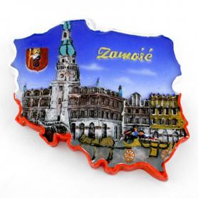 Fridge magnet, Poland shaped, Zamosc