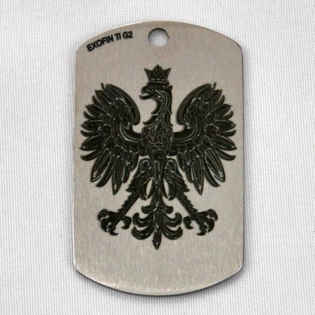 Águila etiqueta de perro de titanio