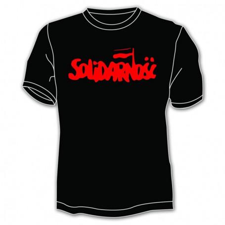 Koszulka Solidarność - duży napis, czarna