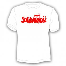 Koszulka Solidarność - duży napis, biała