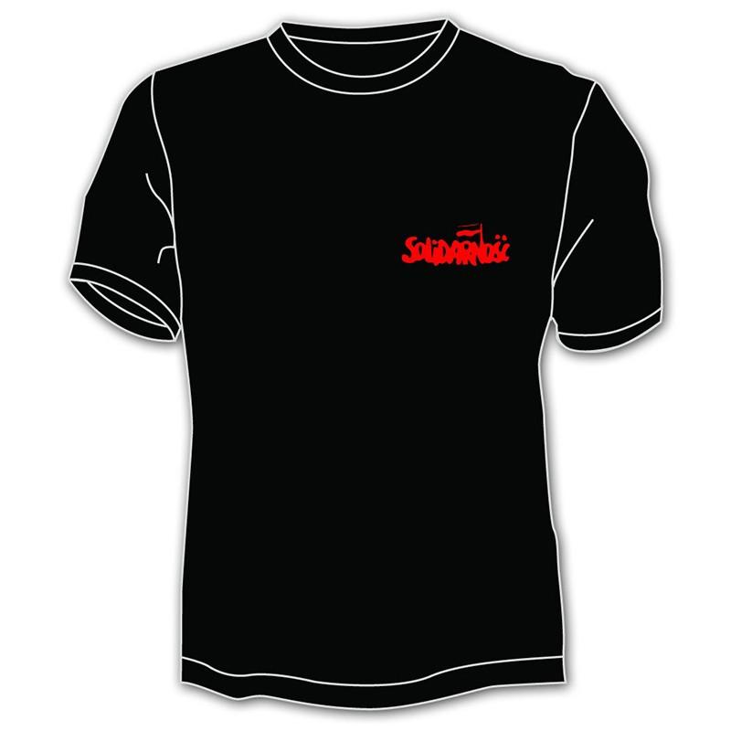 Koszulka Solidarność - mały napis, czarna