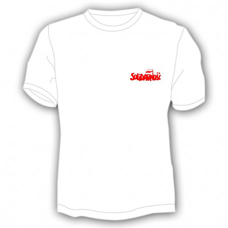 Solidarumo marškineliai - mažas užrašas, baltas