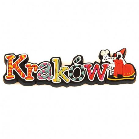 Imán de goma - la inscripción Cracovia
