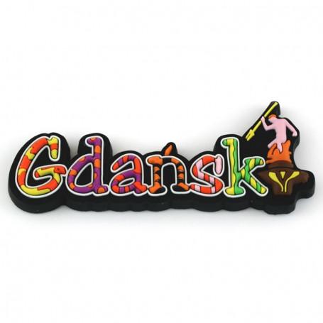 Magnes gumowy - napis Gdańsk