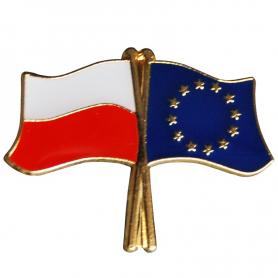Botones, bandera pin Polonia-Unión Europea