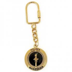 Métal, porte-clés rotatif, colonne de Zygmunt, or