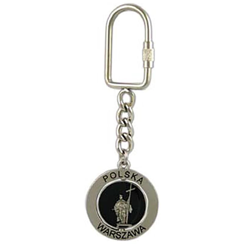 Porte-clés en métal, émerillon, colonne Zygmunt, argent mat