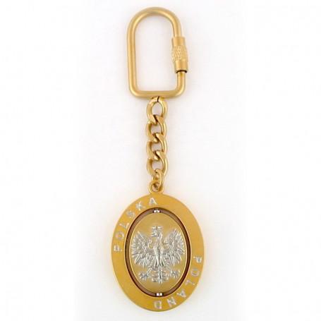 Rotacinis raktu pakabukas, ovalus erelis, auksas