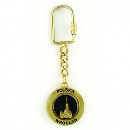 Metalo raktu žiedas, rotacinis, Vroclavas, auksinis