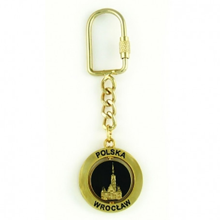 Porte-clés en métal, rotatif, Wroclaw, doré