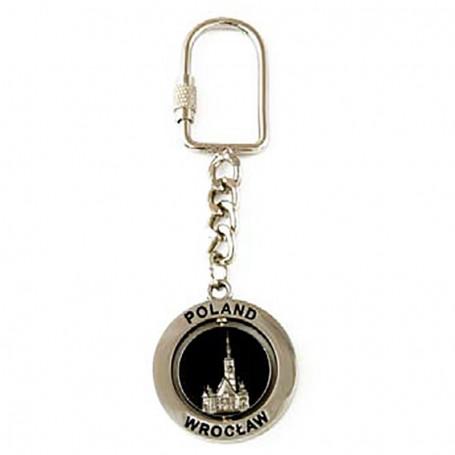 Porte-clés en métal, rotatif, Wroclaw, argent
