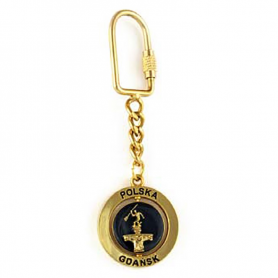 Porte-clés en métal, rotatif, Gdansk, doré