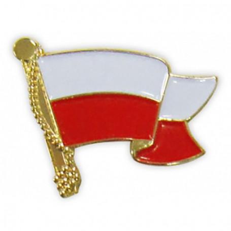 Przypinka, pin flaga Polski, falująca