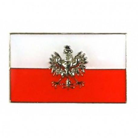 Przypinka, pin flaga Polski z orłem, prosta