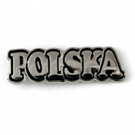 "Przypinka, pin napis ""POLSKA"""
