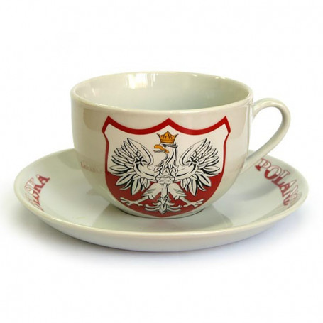 Une tasse de céramique ronde de Pologne