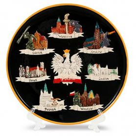 Ceramic plate medium Poland - cities