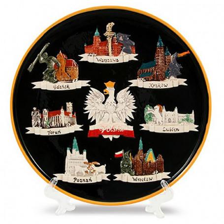 Plaque céramique moyenne Pologne - villes