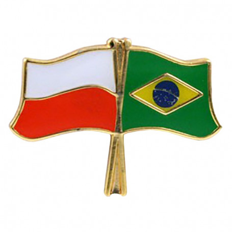 Botón de la bandera de Polonia-Brasil