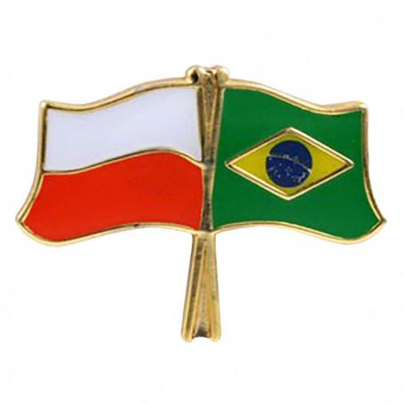 Bouton drapeau Pologne-Brésil