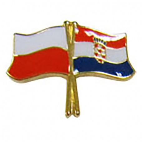 Botón de la bandera Polonia-Croacia