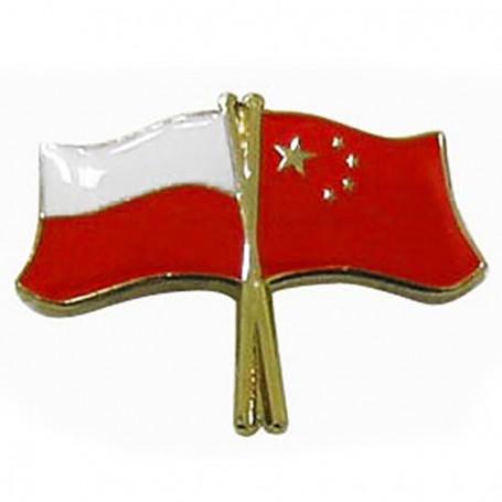 Botón de la bandera Polonia-China