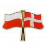 Bandera de botones de Polonia y Dinamarca