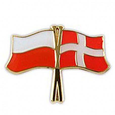 Przypinka, pin flaga Polska-Dania