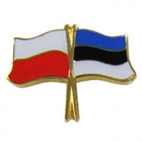 Botón de la bandera Polonia-Estonia