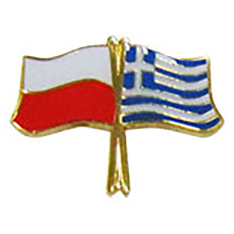 Botón de la bandera Polonia-Grecia
