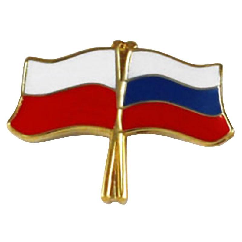 Przypinka, pin flaga Polska-Rosja