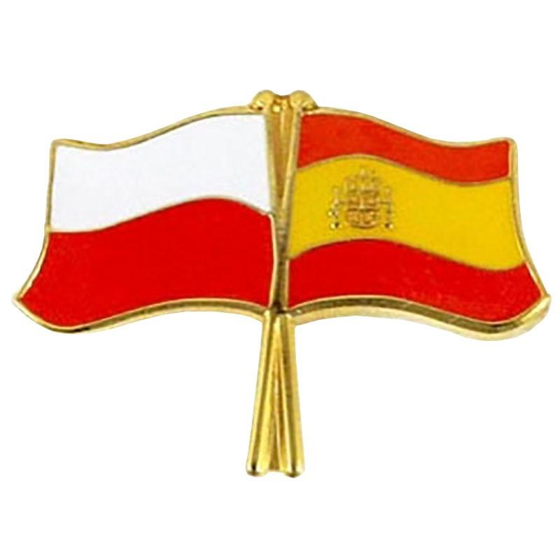 Drapeau des boutons de la Pologne et de l'Espagne