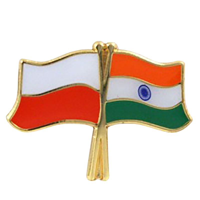 Przypinka, pin flaga Polska-Indie