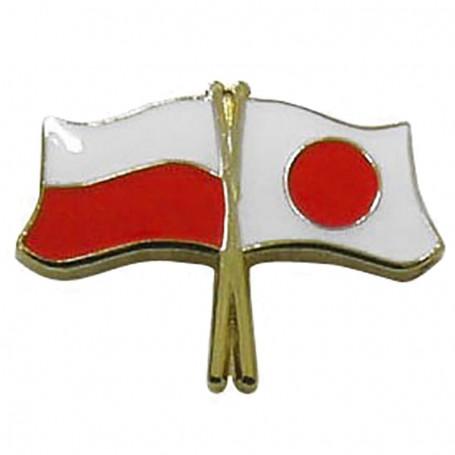Pin, bandera de Polonia y Japón