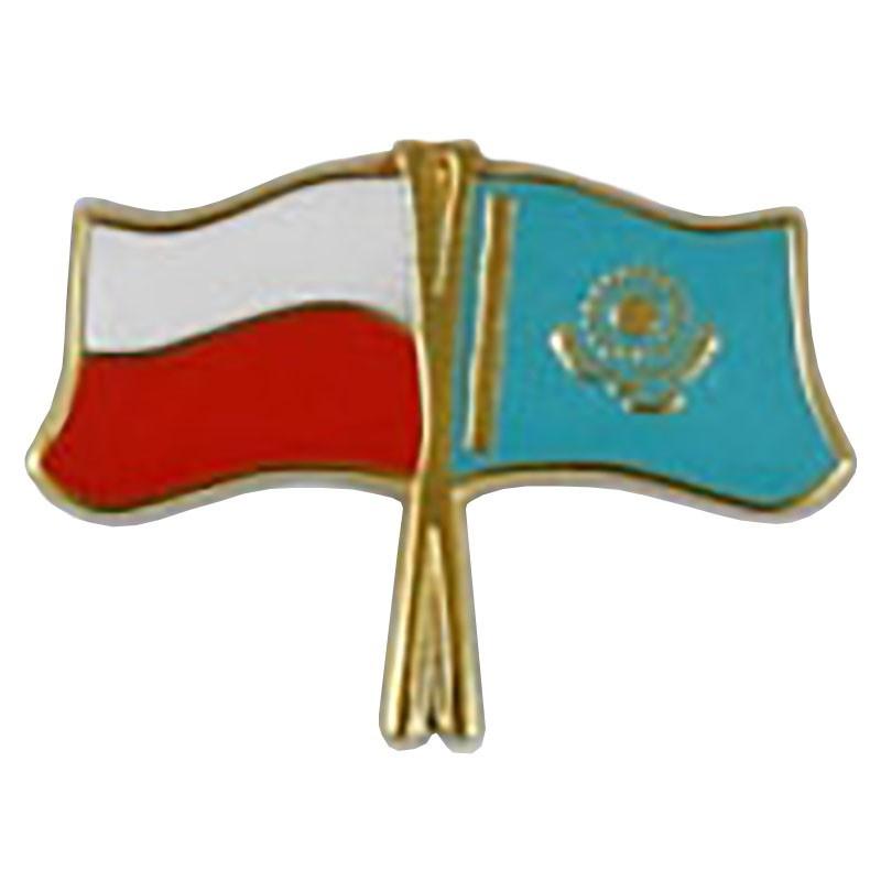 Przypinka, pin flaga Polska-Kazachstan