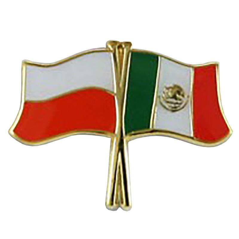 Boutons, drapeau du drapeau Pologne-Mexique