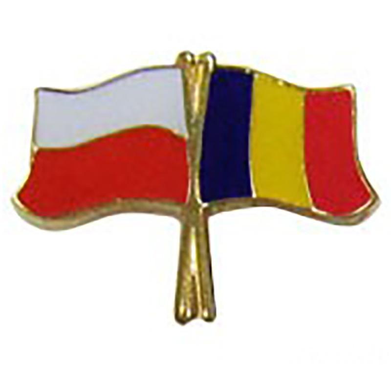 Przypinka, pin flaga Polska-Rumunia