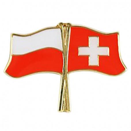 Przypinka, pin flaga Polska-Szwajcaria