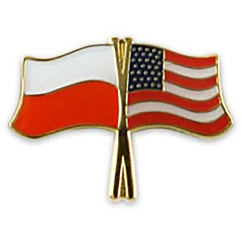 Przypinka, pin flaga Polska-USA