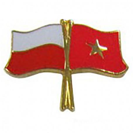Botones, bandera, pin, Polonia-Vietnam