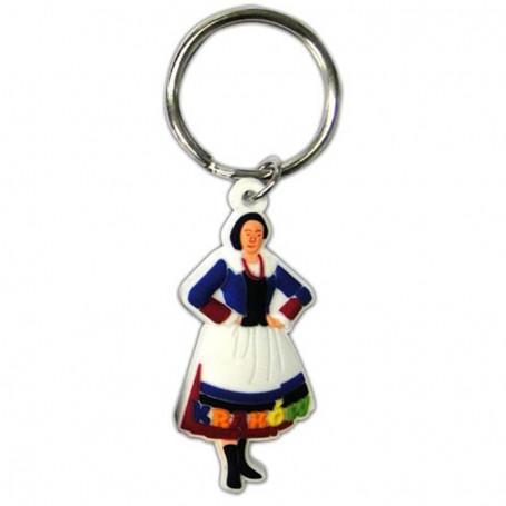 Llavero de goma, disfraz de mujer en Cracovia