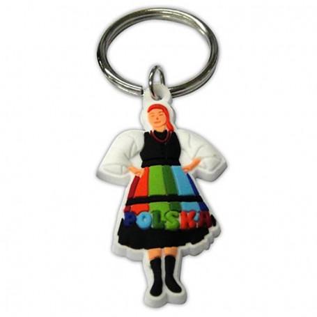 Porte-clés en caoutchouc, costume folklorique féminin