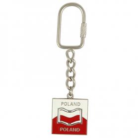 Brelok metalowy, obrotowy, flaga Polski