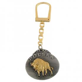 Porte-clés en métal, bison, Pologne