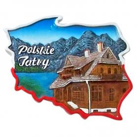 Fridge magnet, Poland shaped, Poland Tatra mountains