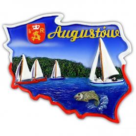 Fridge magnet, Poland shaped, Augustow
