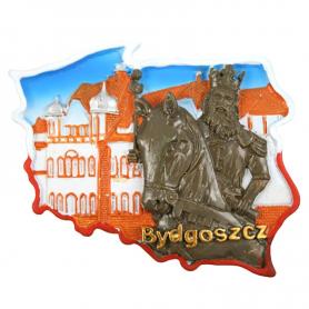 Fridge magnet, Poland shaped, Bydgoszcz monument
