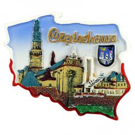 Fridge magnet, Poland shaped, Czestochowa