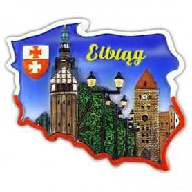 Fridge magnet, Poland shaped, Elblag